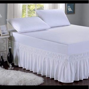 Wrap Around Elastic Solid Bed Skirt, Queen/King